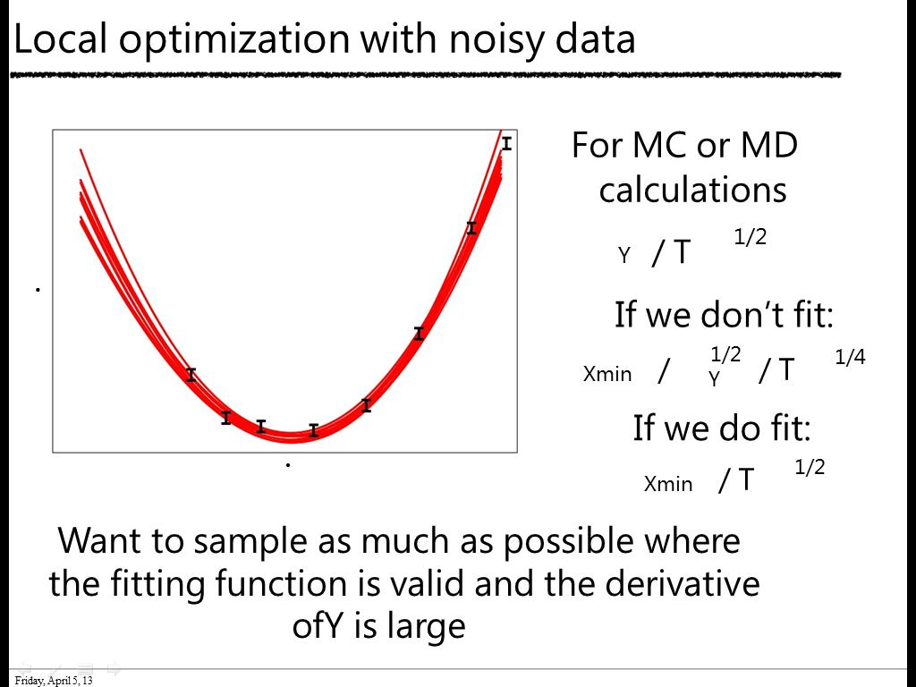 Local optimization with noisy data