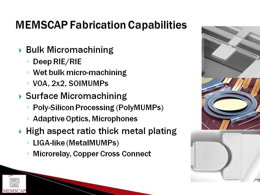 MEMSCAP Fabrication Capabilities