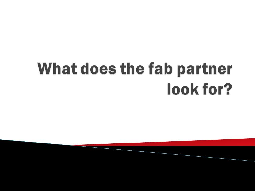What does the fab partner look for?