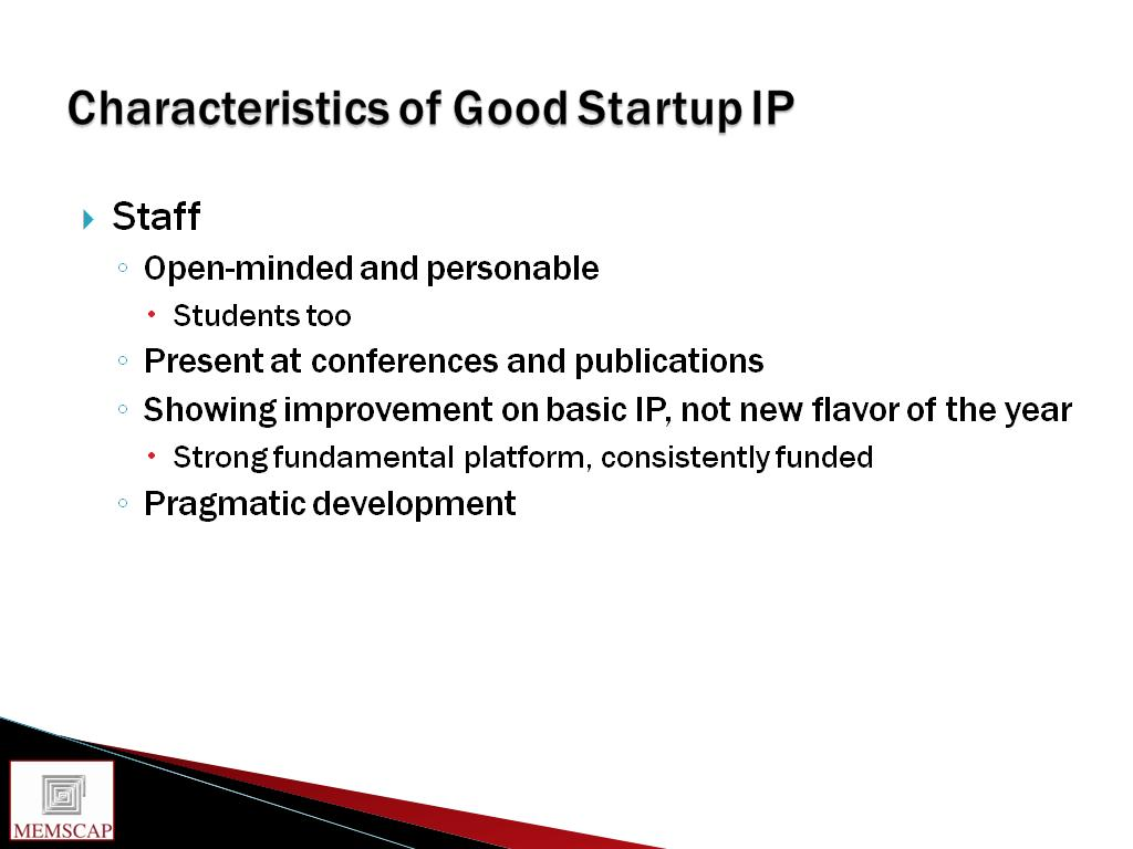 Characteristics of Good Startup IP
