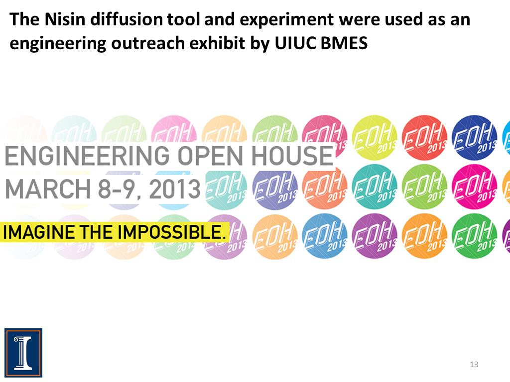 The Nisin diffusion tool and experiment were used as an engineering outreach exhibit by UIUC BMES