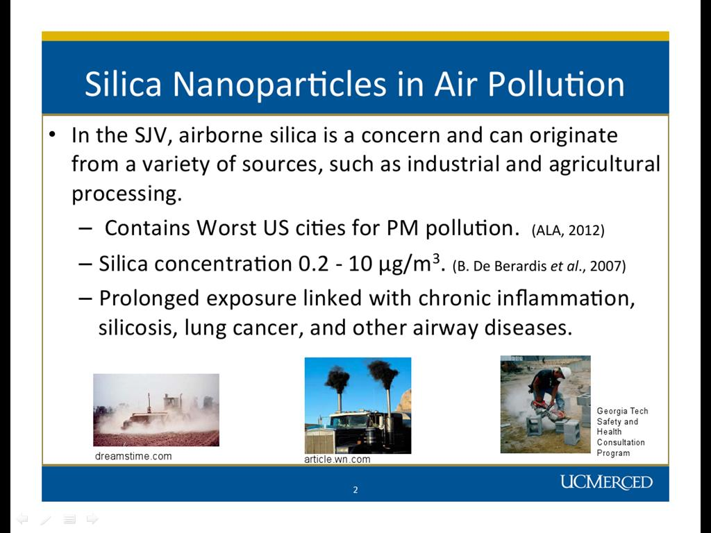 Silica Nanoparticles in Air Pollution