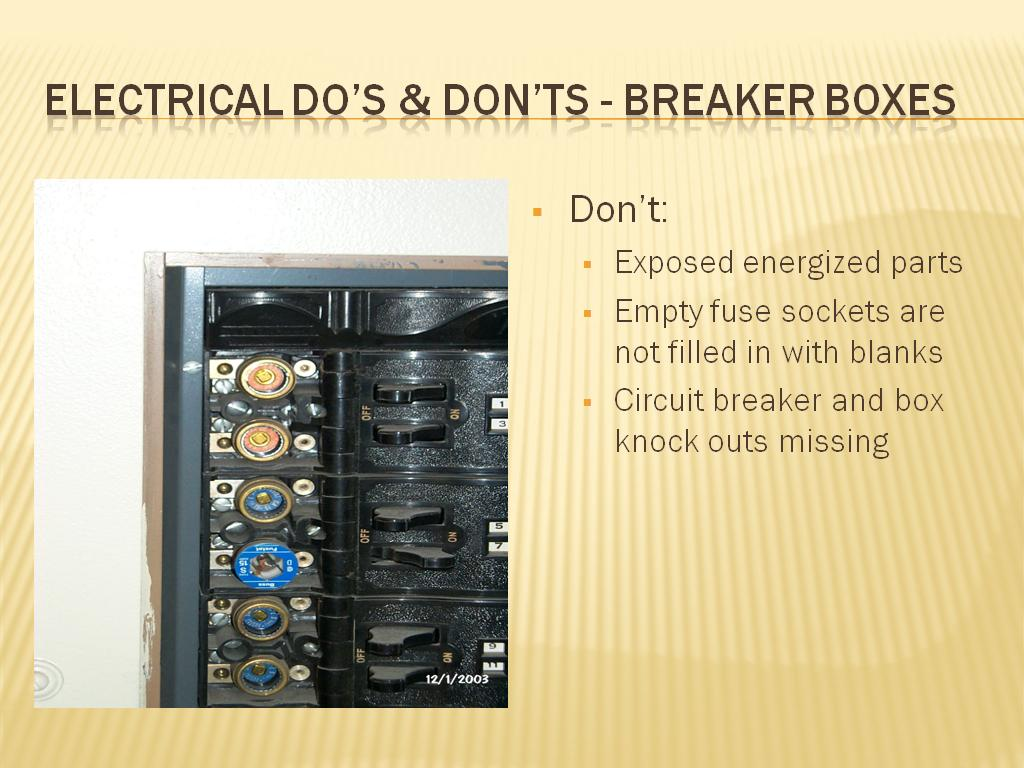 Electrical do's & don'ts - breaker boxes