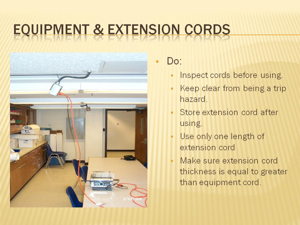 Equipment & Extension Cords