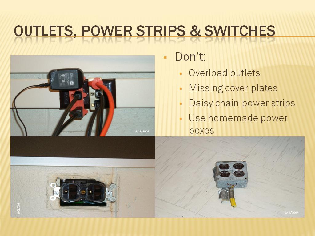 Outlets, power strips & switches