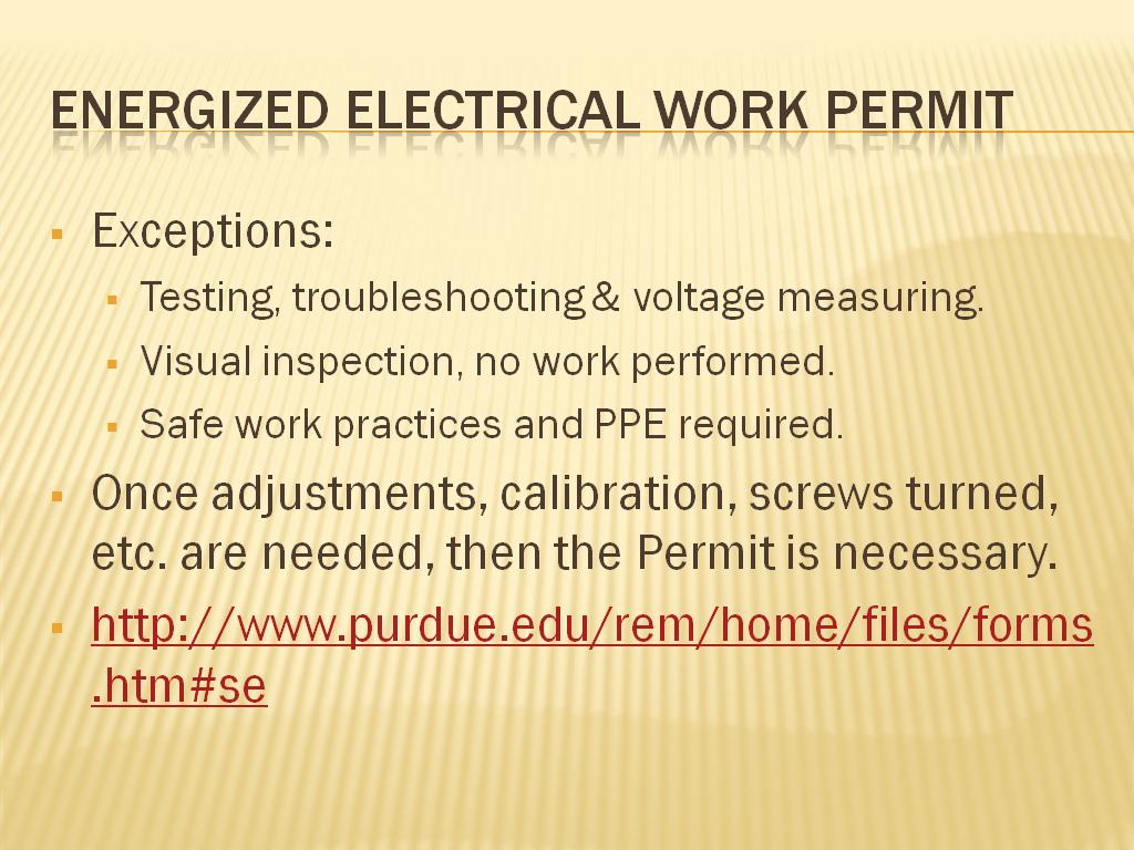 Resources electrical safety safe work for Energized electrical work permit template