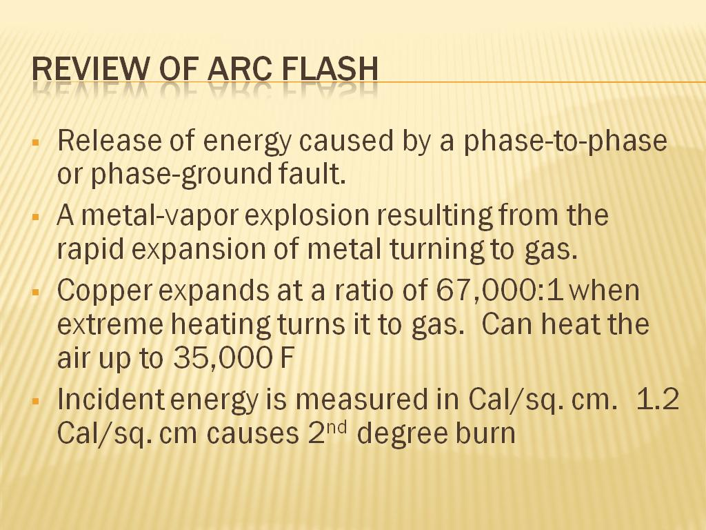 Review of Arc Flash