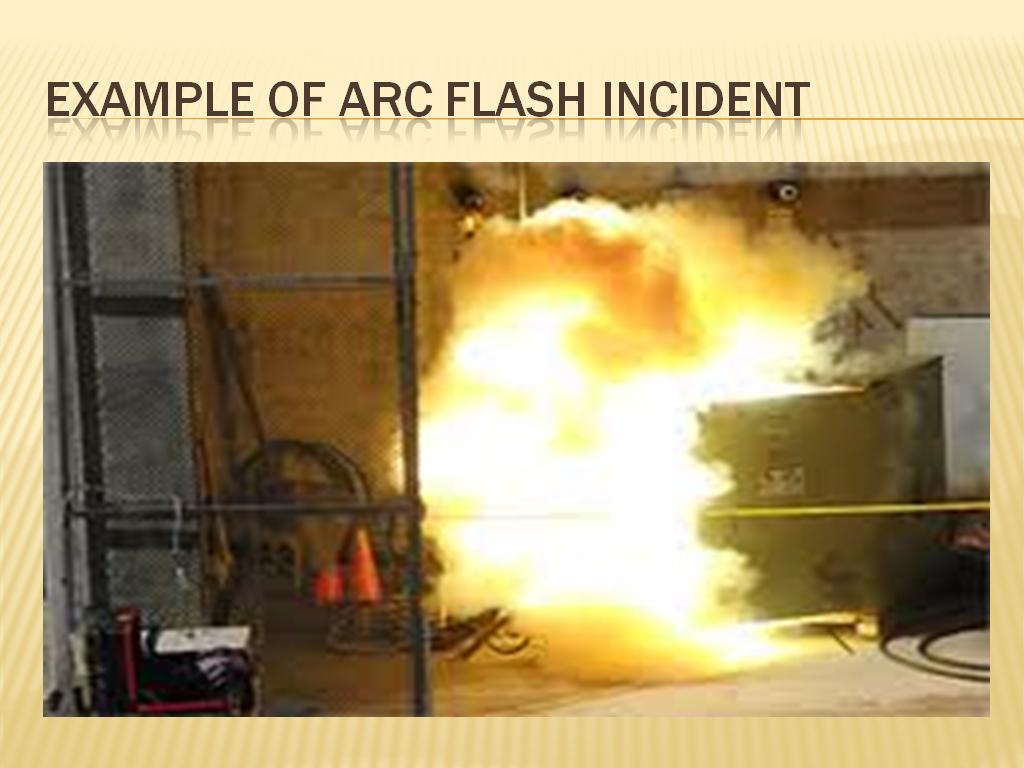 Example of arc flash incident
