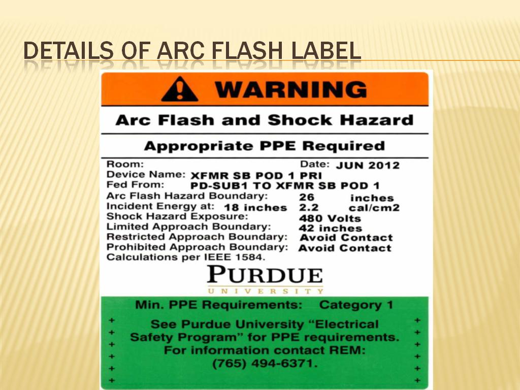 Details of arc flash label