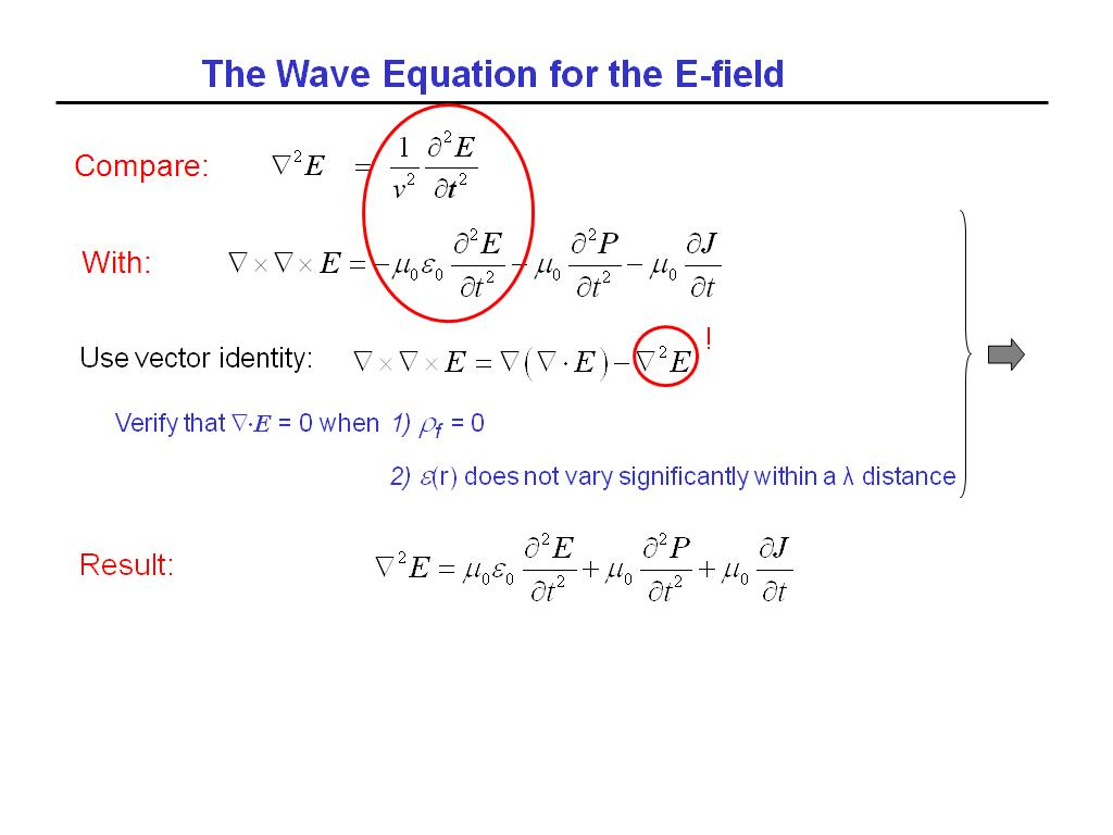 Resources Ece 695s Lecture 01 Light Interaction With Electromagnetic Relay Equation The Wave For E Field