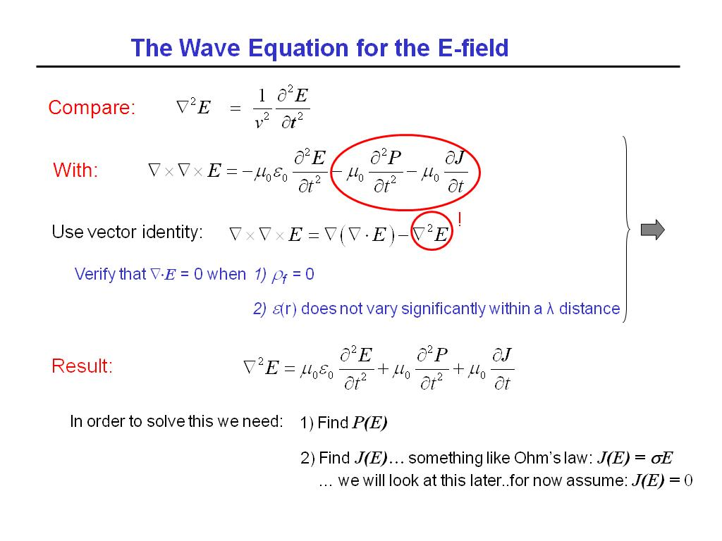 The Wave Equation for the E-field