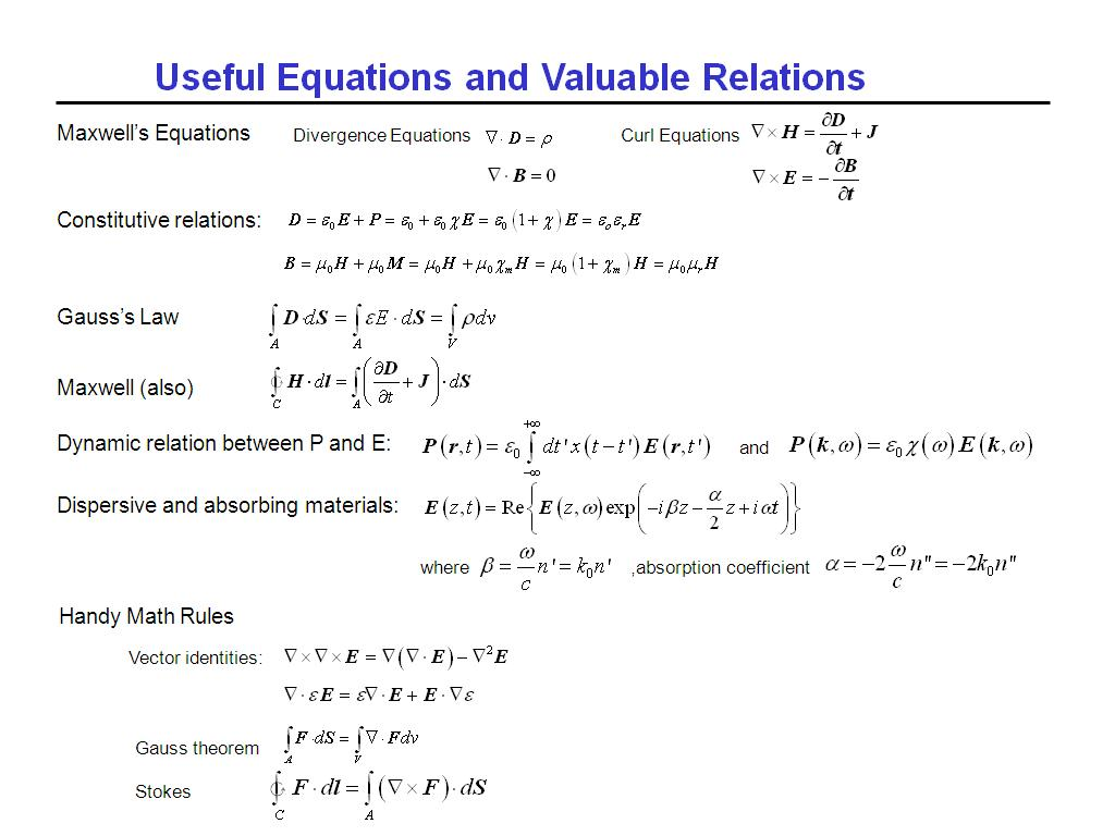 Useful Equations and Valuable Relations