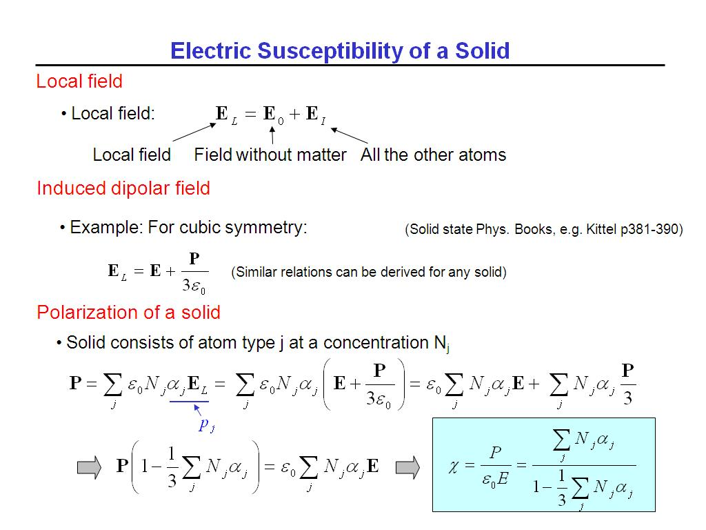 Electric Susceptibility of a Solid