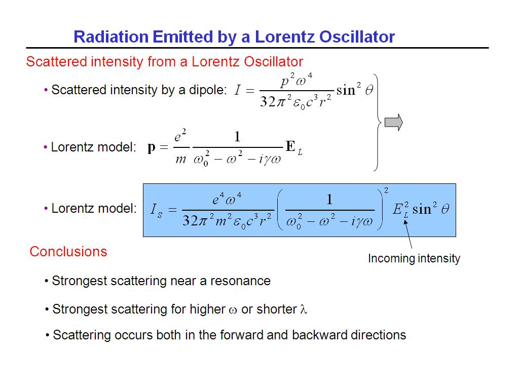 Radiation Emitted by a Lorentz Oscillator