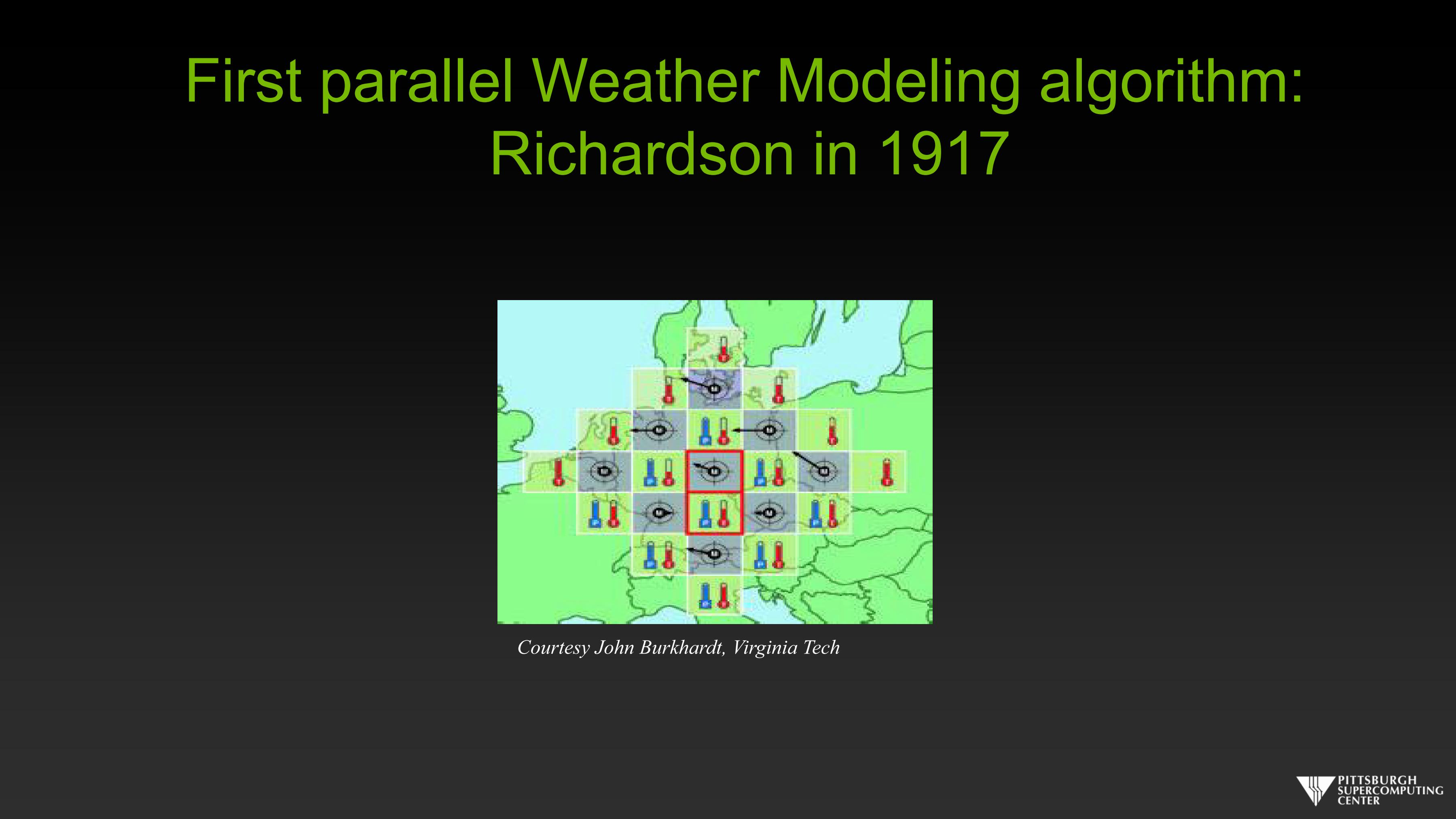 First parallel Weather Modeling algorithm Richardson in 1917