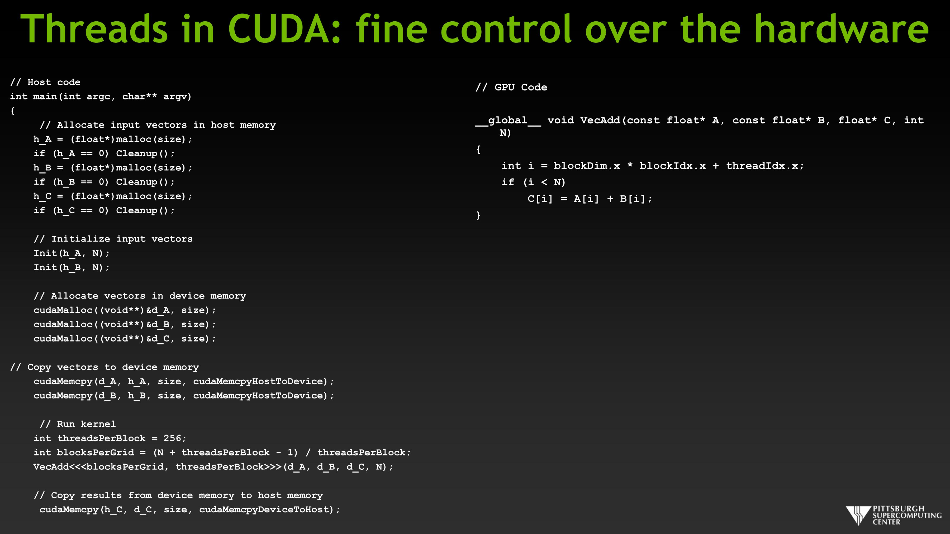 Threads in CUDA: fine control over the hardware