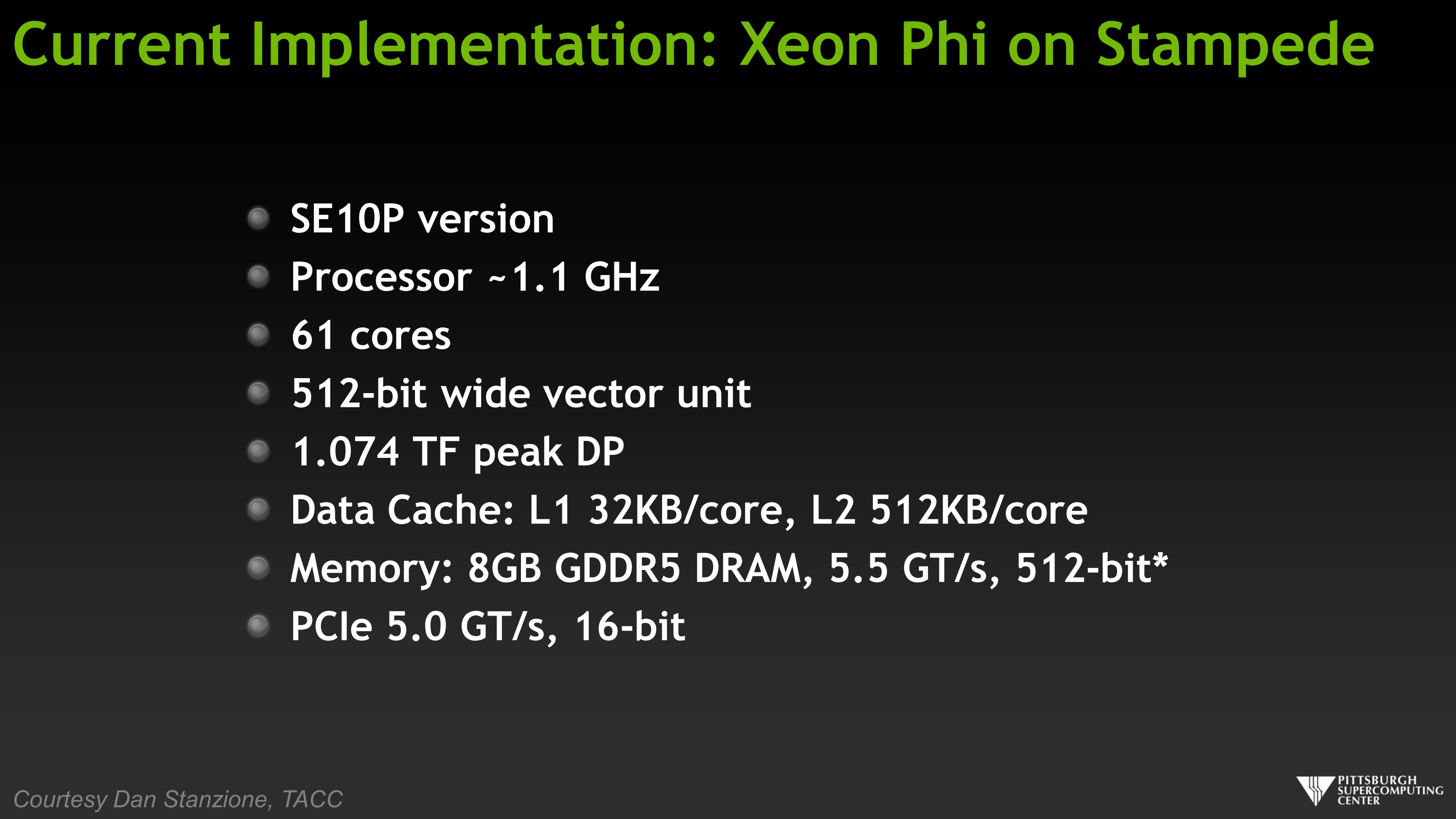 Current Implementation: Xeon Phi and Stampede