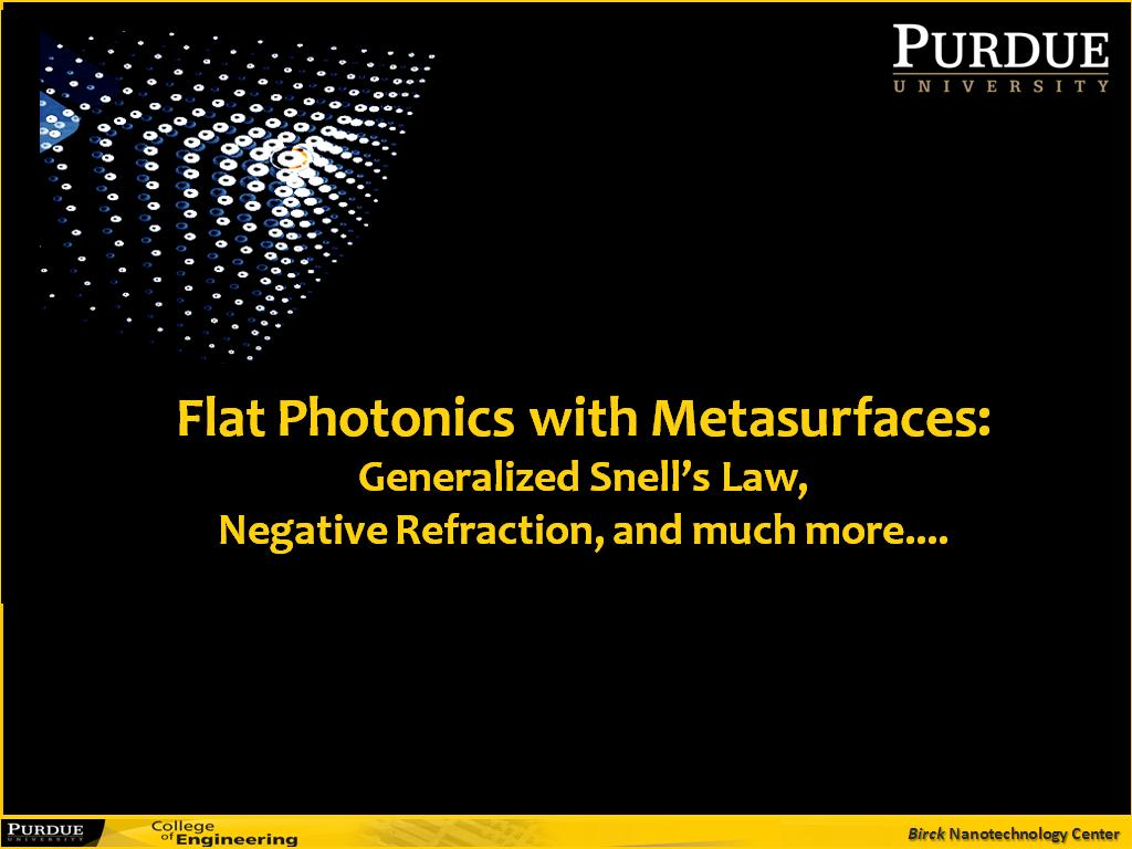 Flat Photonics with Metasurfaces: Generalized Snell's Law, Negative Refraction, and much more....