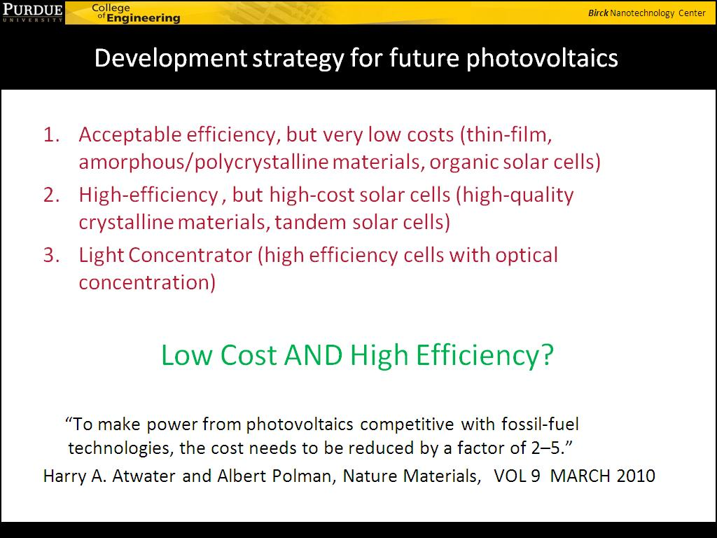 Development strategy for future photovoltaics