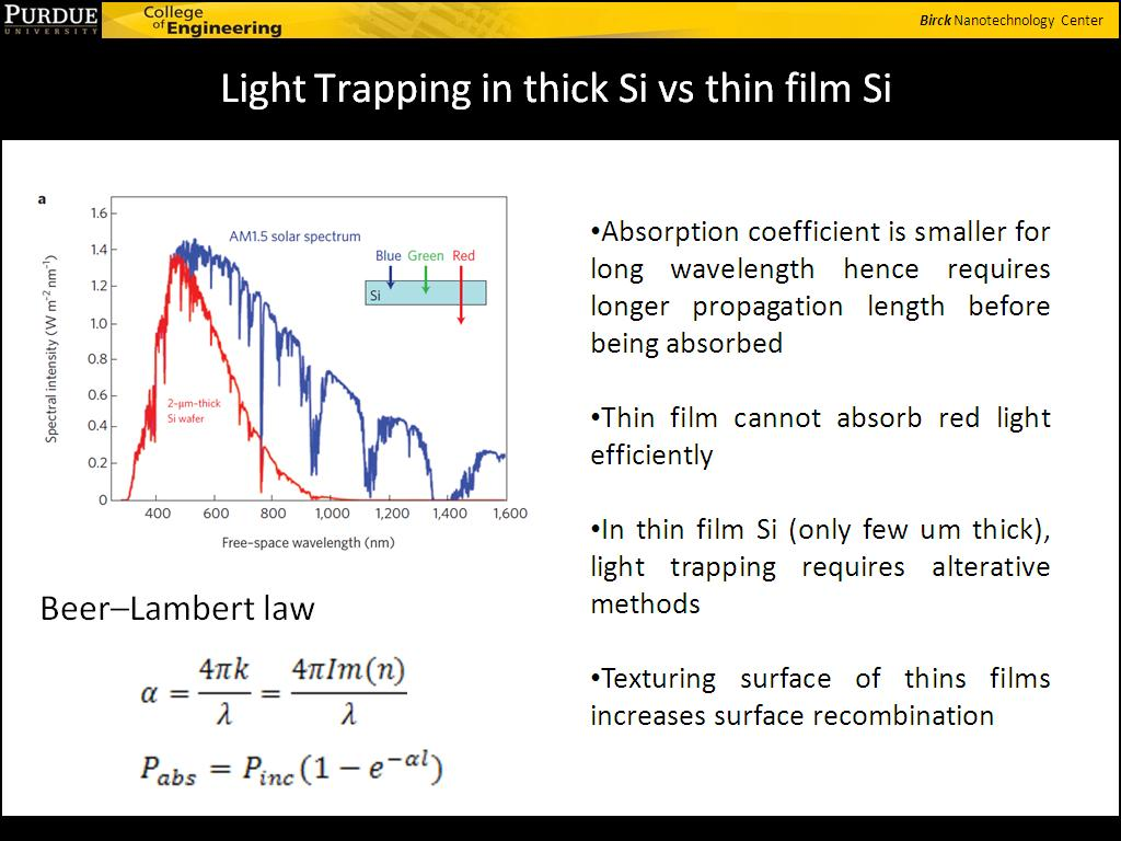 Light Trapping in thick Si vs thin film Si