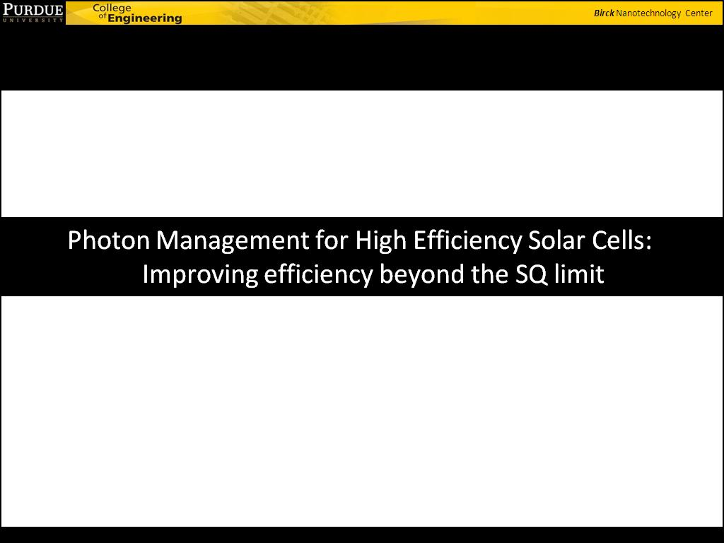 Photon Management for High Efficiency Solar Cells: Improving efficiency beyond the SQ limit
