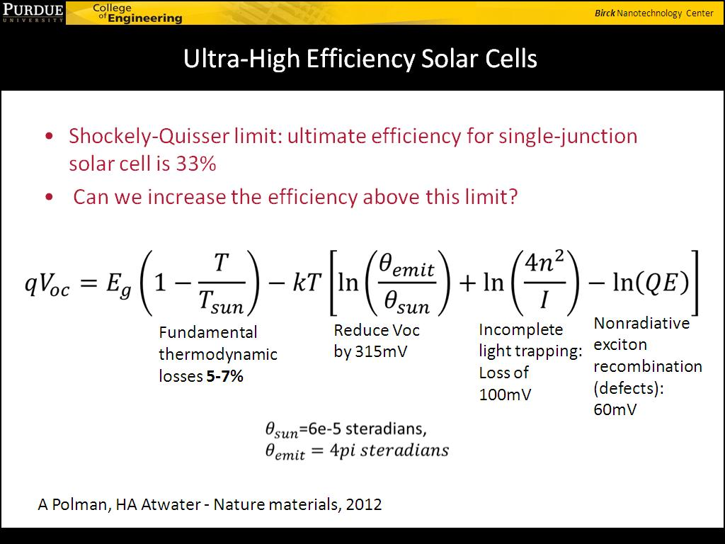 Ultra-High Efficiency Solar Cells