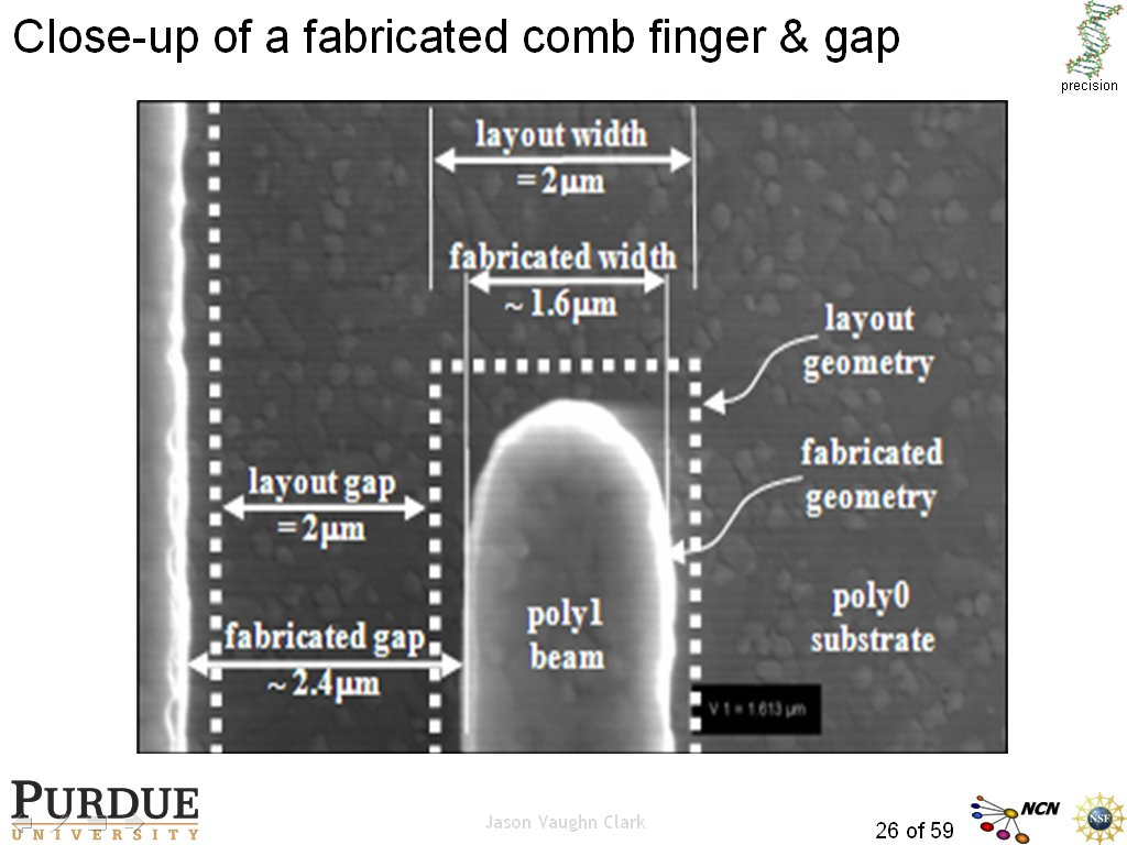 Close-up of a fabricated comb finger & gap