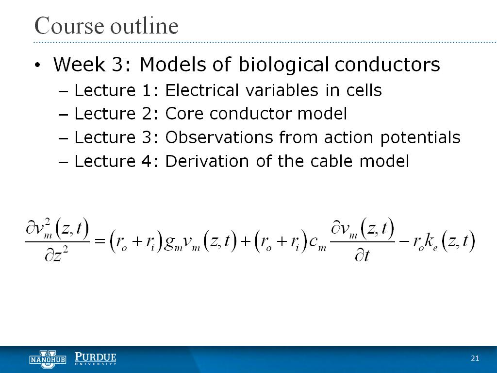 Week 3 Lecture 4: Derivation of the cable model