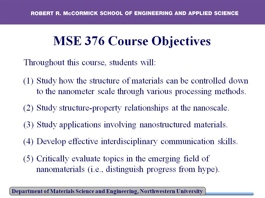 MSE 376 Course Objectives