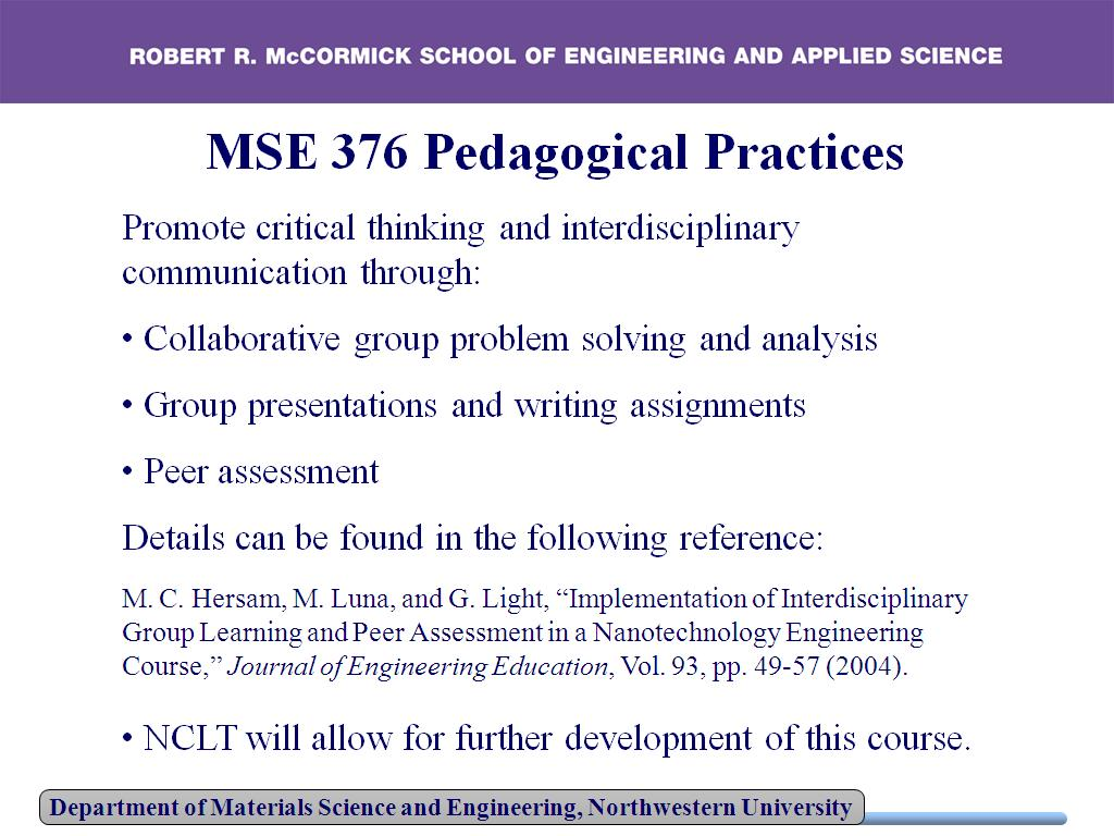 MSE 376 Pedagogical Practices