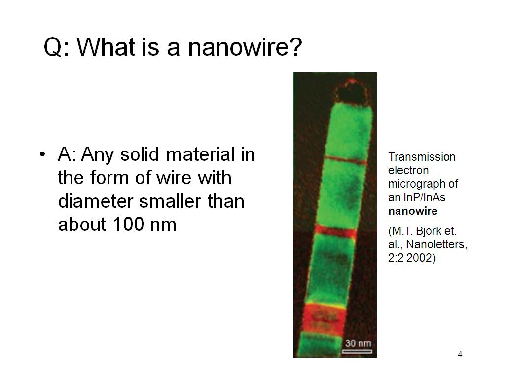 Q: What is a nanowire?