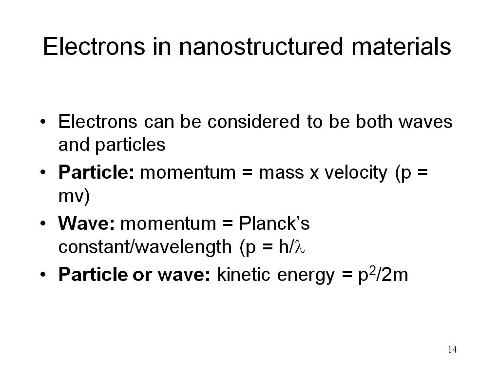 Electrons in nanostructured materials