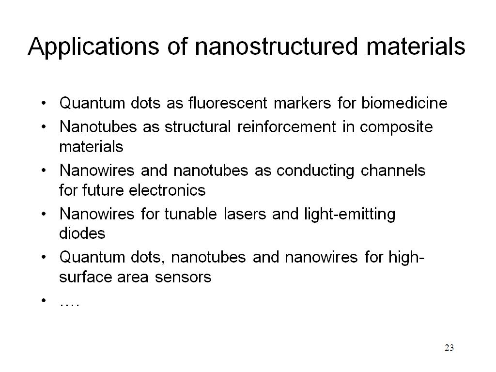 Applications of nanostructured materials