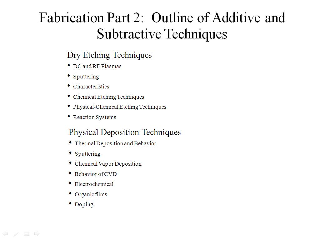 Outline of Additive and Subtractive Techniques