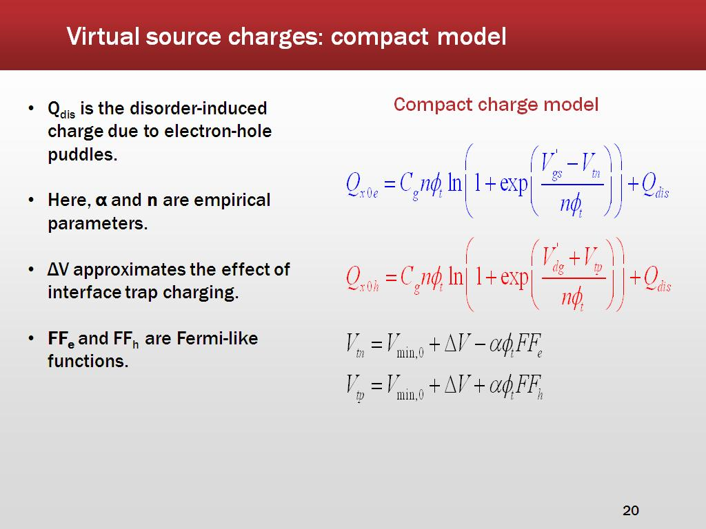 Virtual source charges: compact model