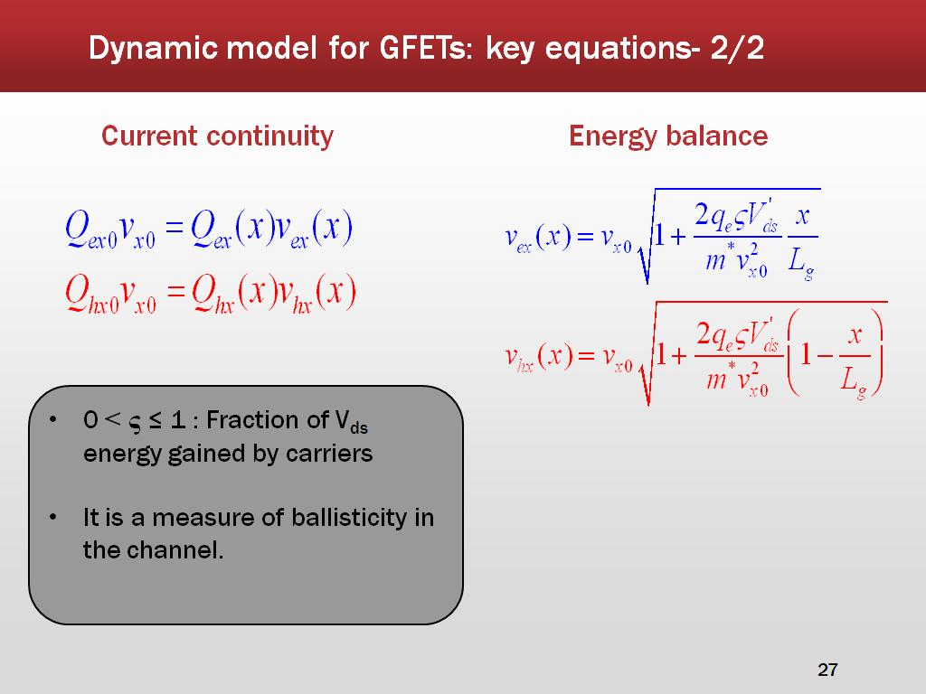 Dynamic model for GFETs: key equations- 2/2