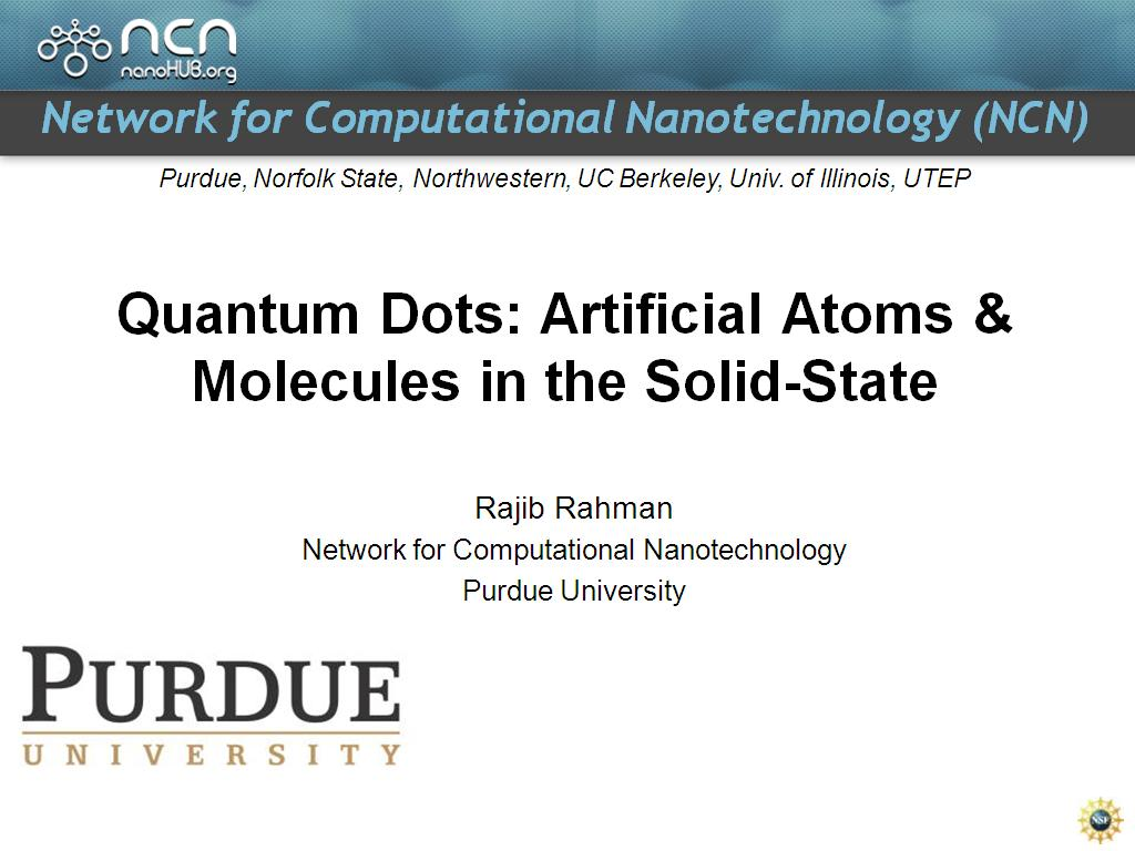 Quantum Dots: Artificial Atoms & Molecules in the Solid-State
