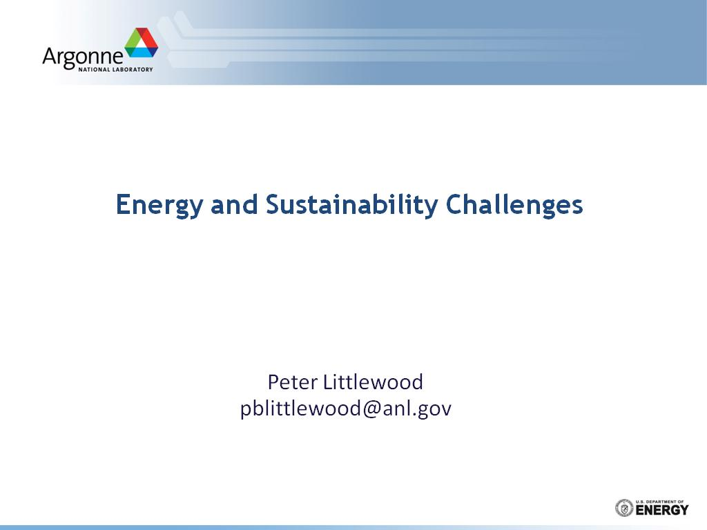 Energy and Sustainability Challenges