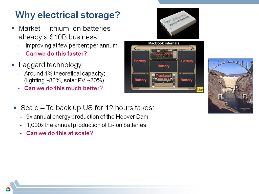 Why electrical storage?