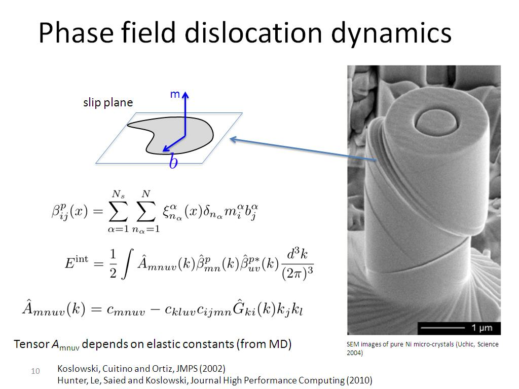 Phase field dislocation dynamics