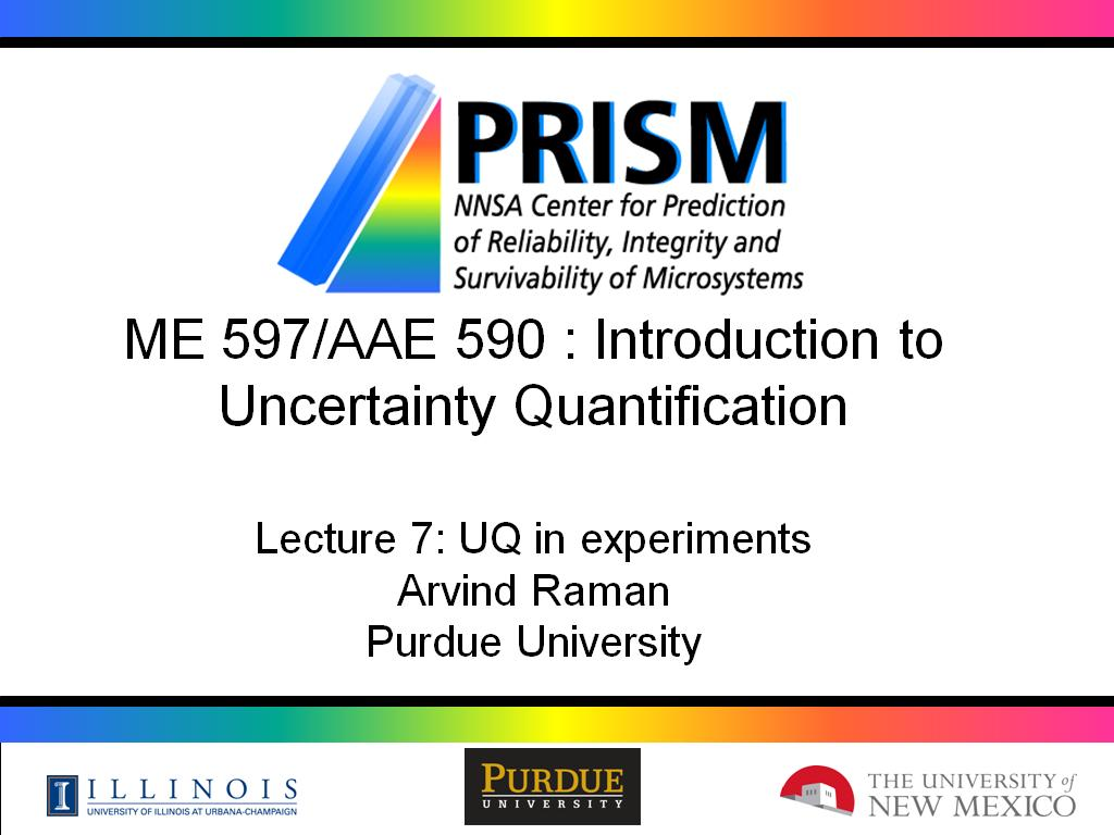 Lecture 7: UQ in experiments
