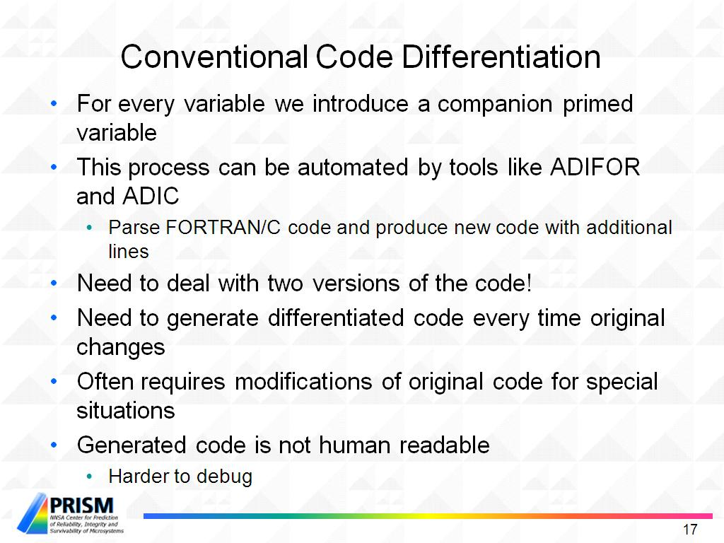 Conventional Code Differentiation