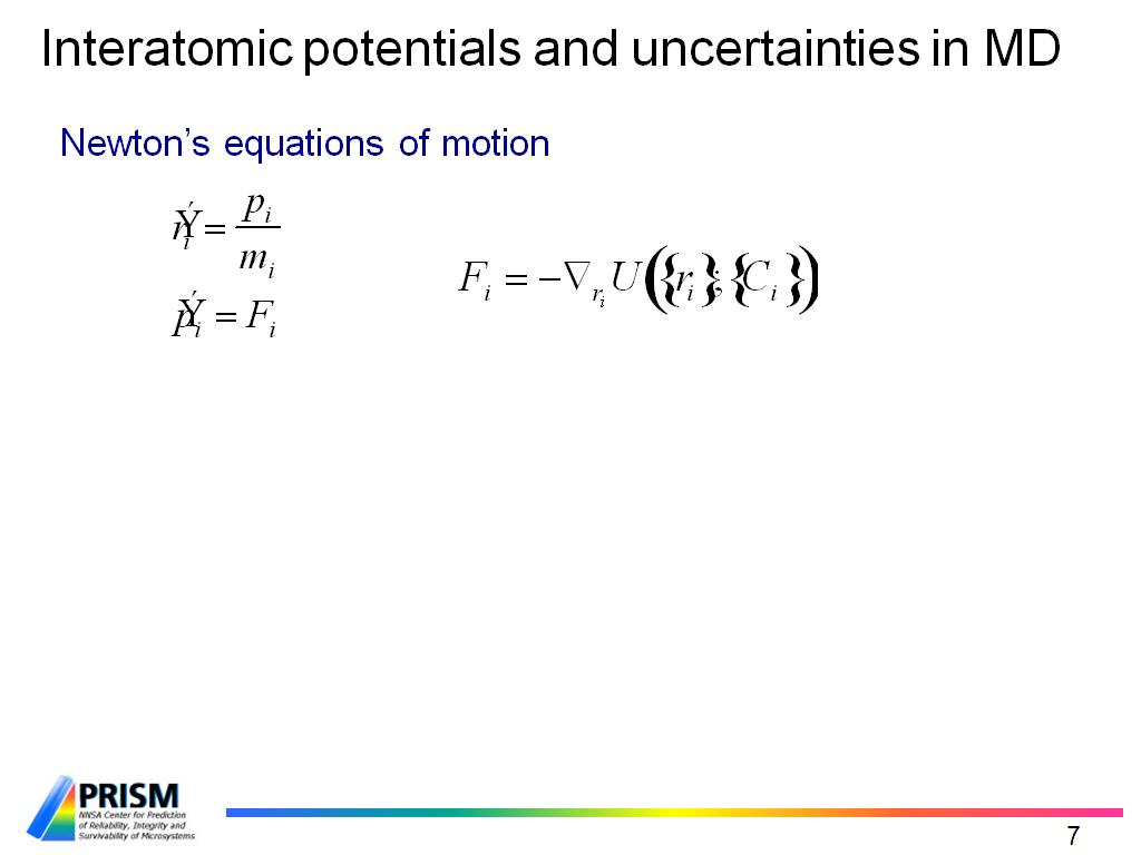 Interatomic potentials and uncertainties in MD