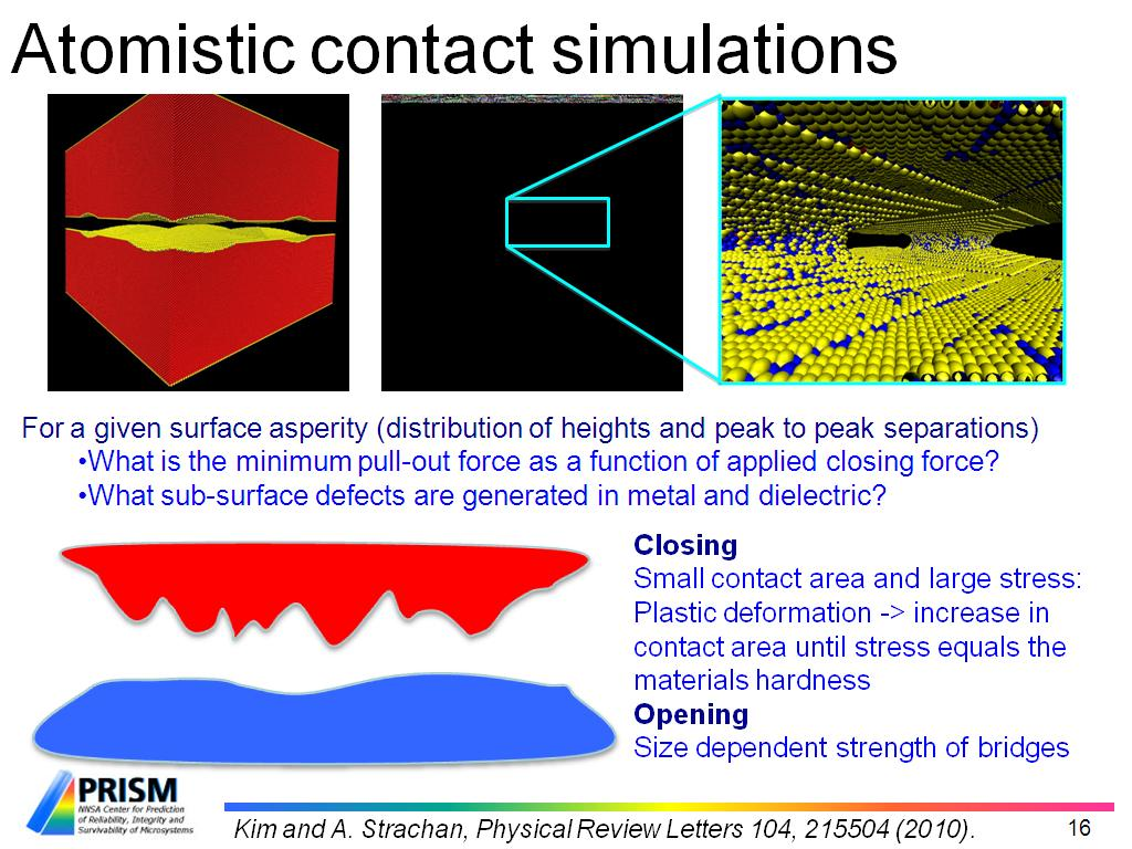 Atomistic contact simulations