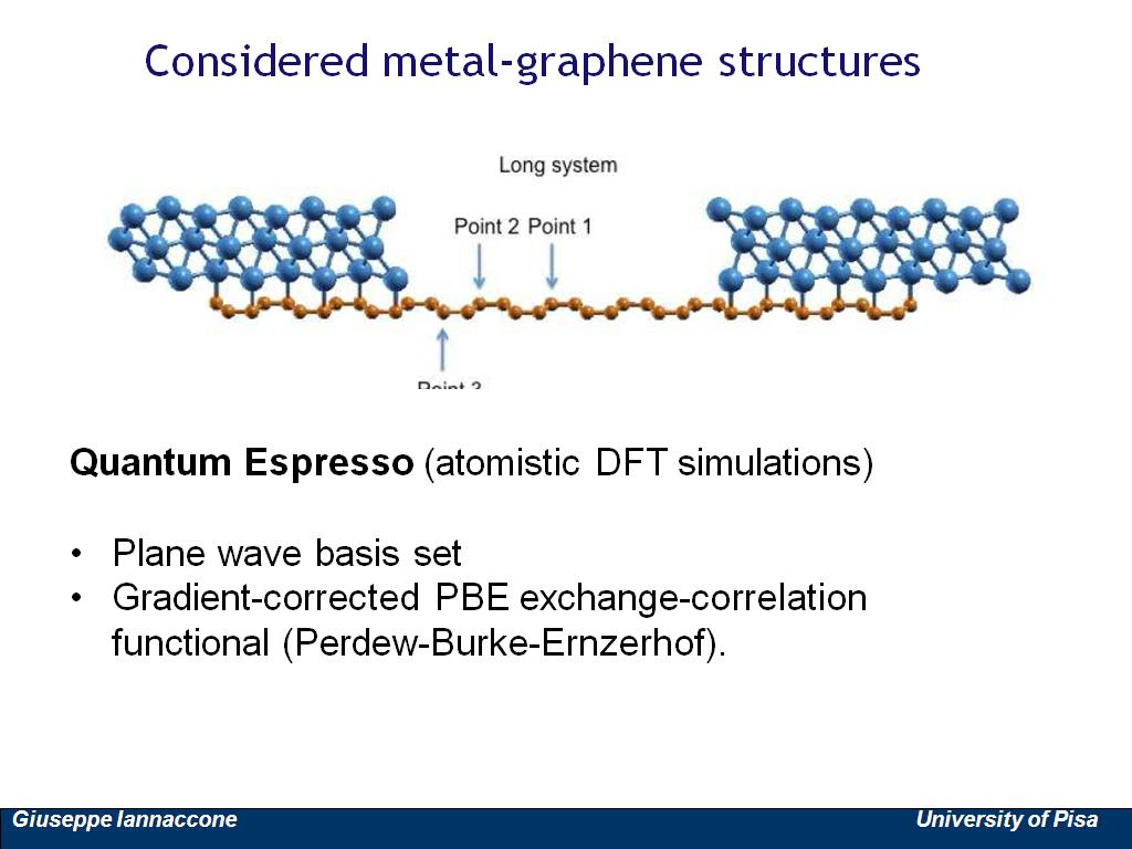 Considered metal-graphene structures
