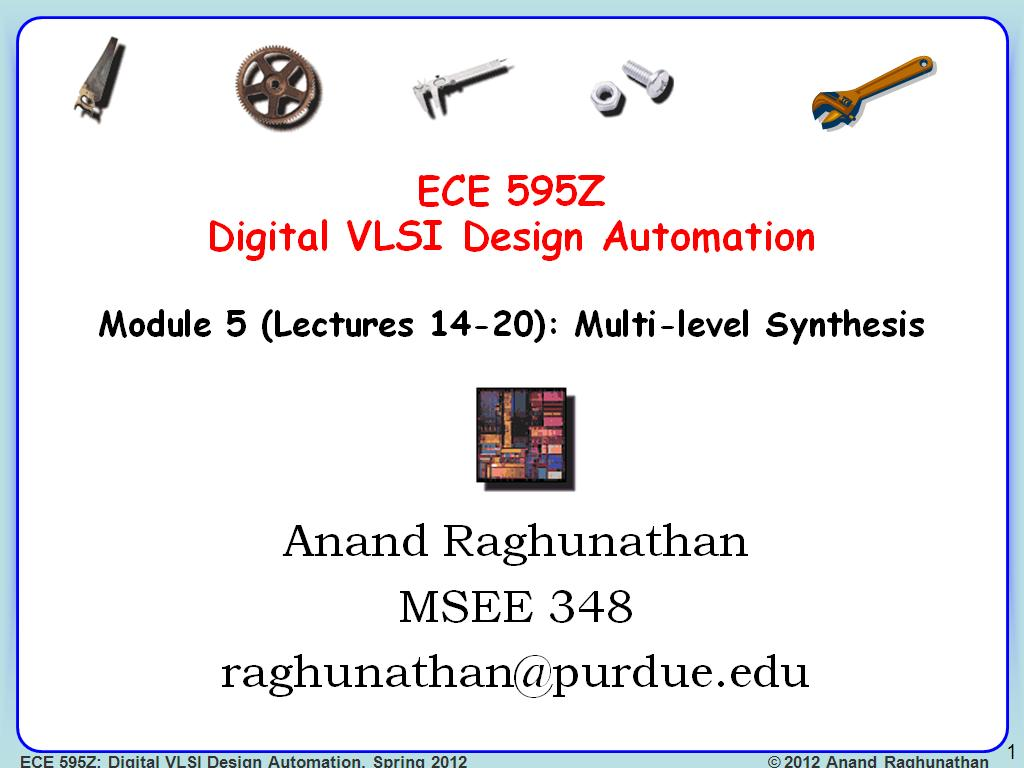 ECE 595Z Lecture 14:: Multi-level Synthesis