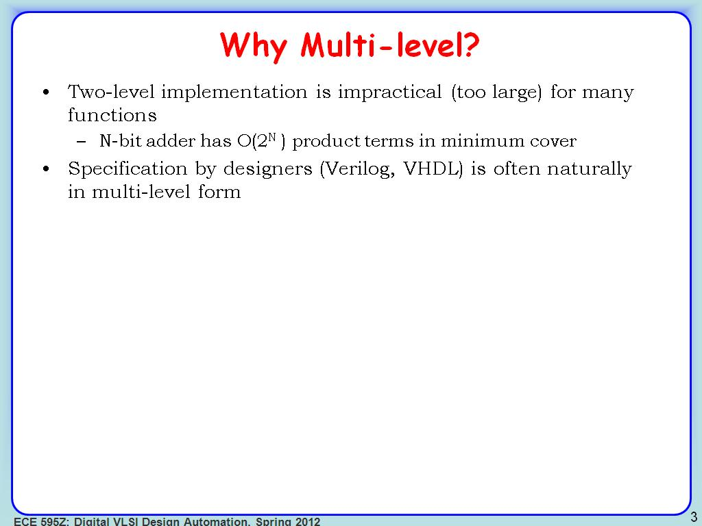 Why Multi-level?