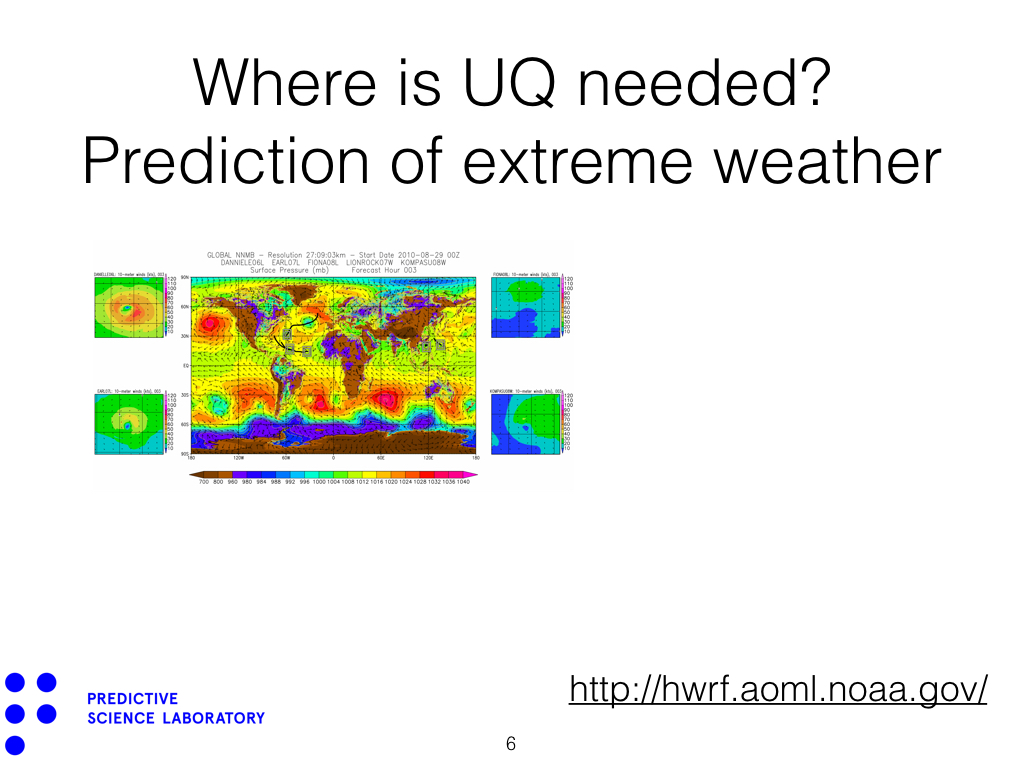 Where is UQ needed? Prediction of extreme weather