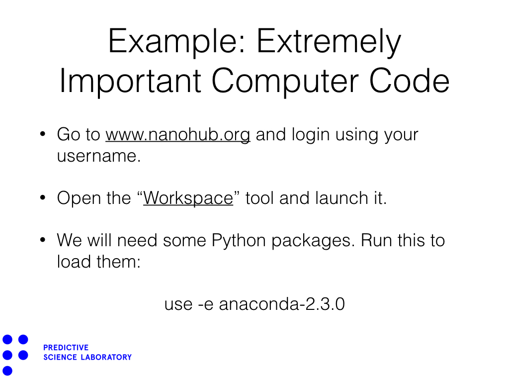 Example: Extremely Important Computer Code