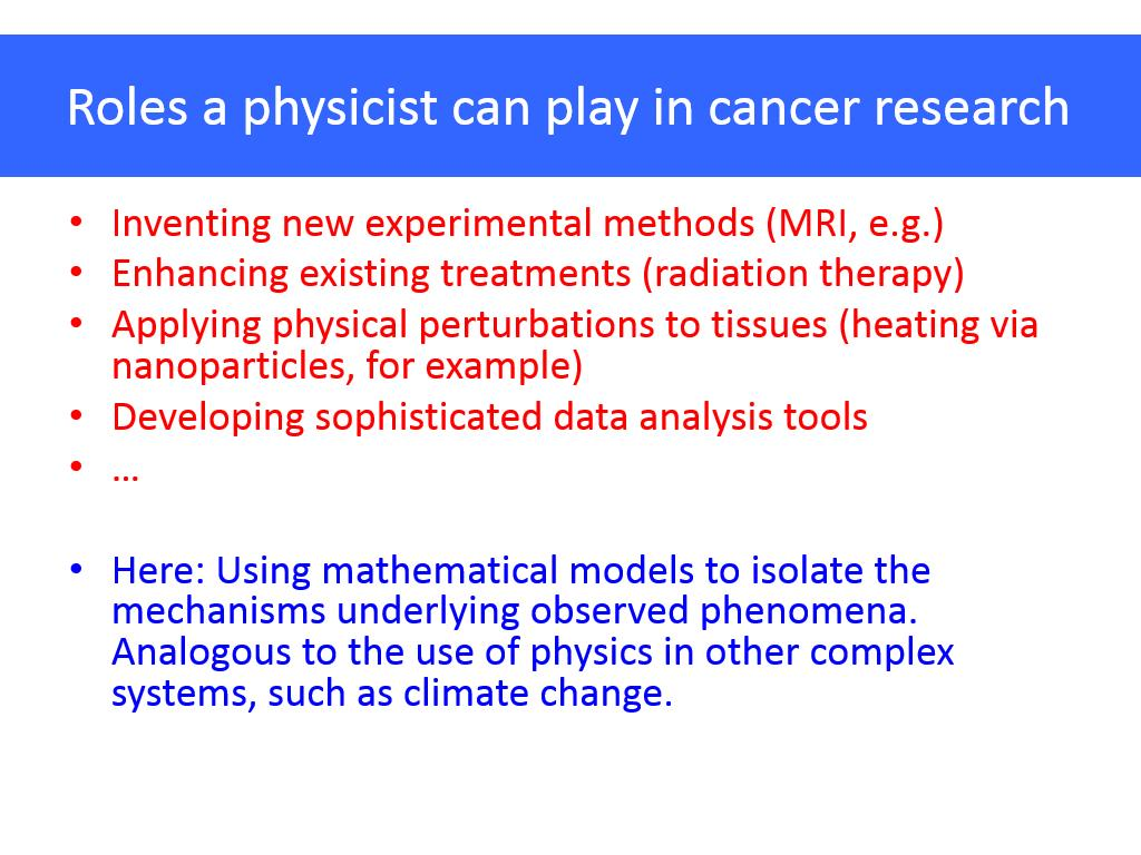 Roles a physicist can play in cancer research